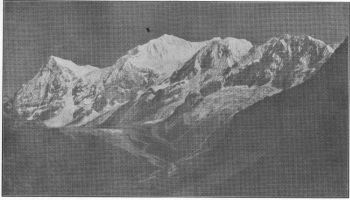 Little Kabru, Kabru, The dome, and the Forked Peak, from Kabur.( Photo. N.A. Tombazi.)