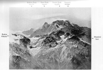 Nanga Parbat from the North-west. Mummery's route was by the Diamirai face, shown on the right; Merkl's by the Rakiot glacier, shown on the left. Merkl's Camp 7 was on the ridge immediately to the right of Rakiot to the right of Rakiot peak Photo. Royal Air Force; Crown Copyright