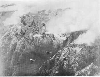 Looking south towards Nanga Parbat over the Indus valley at Rakiot.  Rakiot glacier in the background  Photo. Royal Air Force: Crown Copy right
