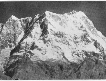 Badrinath (or Chaukhamba), 22,880 feet. Infra-red photograph from a distance of 69 miles Photo. C.E.C. Gregory