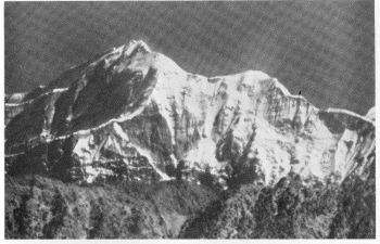 Trisul, 23,360 feet, in the morning. Infra-red photograph from a distance of 72 miles Photo. C. E. G. Gregory
