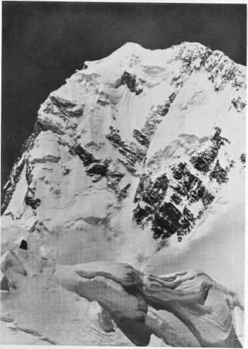 Summit of Nanga Parbat (26,660 ft.) showing Southern Precipice on left