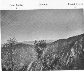 View northwards from hill 3-3 miles ENE. of Udaipur Garhi (72J) showing spur of Mahabharat Lekh. Gauri Sankar on left, 70 miles distant. Numbur, 22,817. ft., in centre, 53 miles due north. Everest on right, just appearing above the spur. 73 miles distant