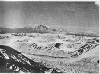 Chomo Lhari and the Phari Plain from Hill 21,000, NE. of Pauhunri. Glacier in foreground descends from E. side of Pauhunri. 30th Oct.1934