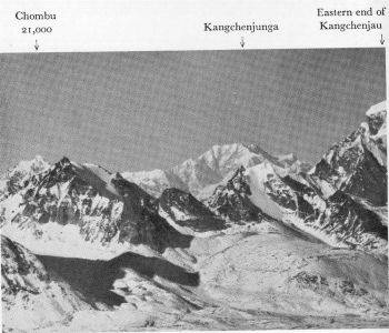 Telephotograph of Kangchenjunga from near Kerang, above Tso Lhamo