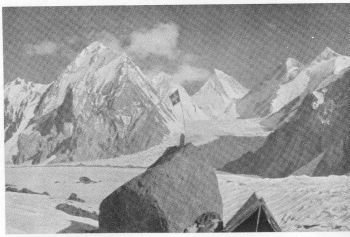 Southern Gasherbrum Glacier with Gasherbrum II, III, and IV in background