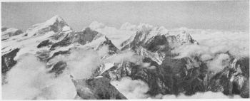 Trrisul (23,360 feet) and Nanda Ghunti (or Nandakna, 20,700 feet), from the south ridge of Dunagiri (23,184 feet), 8th October 1936