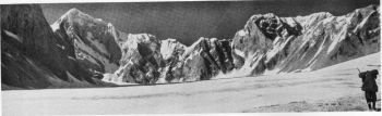 Panorama of the head of the Rhamani glacier. Dunagiri (23,184 feet) on the, left, 10th October 1936