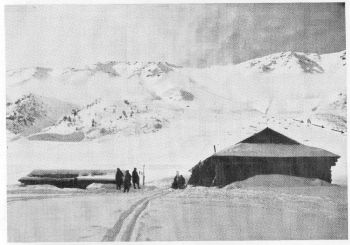 Ski Club of India Hut on Khillanmarg (10,100 feet) with Apharwat (13,592 feet) behind