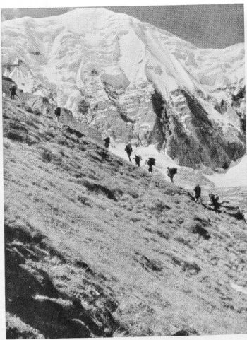 Nanda Devi Kot from the route between the Base and Camp I, 4th September 1936