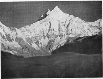 The twin peaks of Nanda Devi, 25,645 and 24,391 feet, from the route between Narspan Patti and Traill's Pass, 9th October 1936