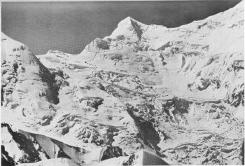 The ice-falls of the Upper Rakhiot glacier and the Rakhiot Peak, showing the route from Camp II on the right to Camp VI on the ridge. 13th July 1938