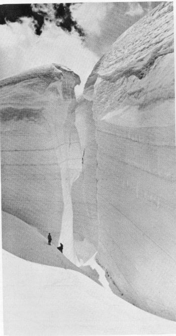 At the great Ice Barrier, which treaverses the Upper Rakhiot glacier between Camps III and IV. 26th June 1938