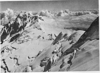 View northwards from Camp VI, Nanga Parbat. On the ridge to the right is seenCamp V; on the glacier terrace is Camp VI. The Chongra peaks are in the bachground. 23rd July 1938