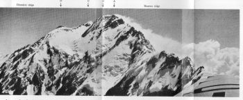 A composite air view of the Diamir or western flank of Nanga Parbat, with the Mazeno ridge descending to the right. A strong north wind clears the north-west face, while on the south are Monsoon clouds. 18th August 1938