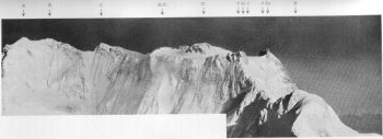 Composite air view of the North-east ridge of Nanga Parbat from the east and south-east, from Rakhiot Peak, on the right, to the Summit. 16th June 1938