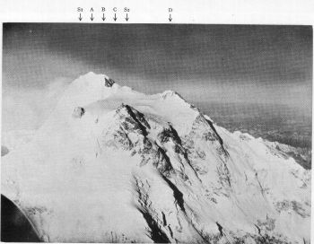 An air view of the Silver Saddle, the Summit Plateau, and the Summit of Nanga Parbat, from the east north east. 6th July 1938