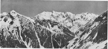 View from 15,900 foot col (lat. 310 7 ½', long. 780 40'), northwards towards the Chhotkhaga (or Nela) pass, 16,900 feet, and peaks forming the boundary between Tehri-Garhwal State and Bashahr. Map 53I/SE. May 1939