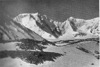 View  south south-west from 18,000-foot camp on the south-west branch of the Mana glacier towards the Mana peaks, 22,090 feet. Map 53N/NW. 16th June 1939
