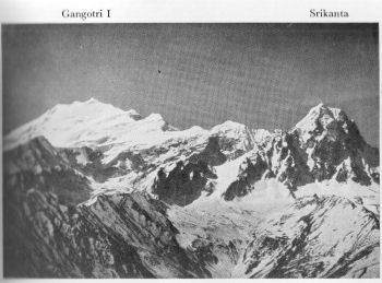 Telephotograph southwards of Srikanta, 20,120 feet, Gangotri I, 21,890 feet (map 53J/ne.), from Dadapokhri Survey Station, 14,812 feet (map 53I/se.). 27th May 1939