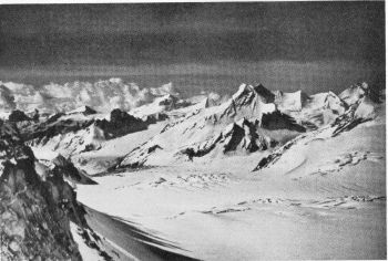 View south- south rest over Khatling glacier from 18,000 foot col between the Khailing and Rudugaira glaciers. Map 53J/NE. 29th June 1939