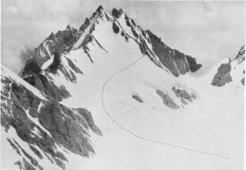 Peak, 21,00 feet (6,462 m.) climbed by A. Roch and Gombu on 17th August, seen from Gauri Parbat the following day. Photograph, Swiss Climbing Party, 1939; A. Roch