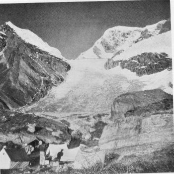way from Base Camp to Camp I on Upper kosa glacier Left: Peak 19,950 feet, climbed by Andre Roch with Gombu. Right: Hathi Parbat. 	x-x-x  Fixed ropes. Photograph, Swiss Climbing Party, 1939; Fritz Steuri