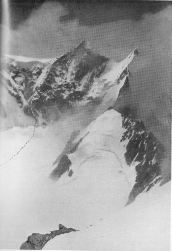 GAURI PARBAT, FROM PEAK 21,200 FEET (6,462 M.) SHOWING ROUTE CLIMBED ONTHE 18TH AUGUST 1939. PHOTOGRAPHED THE PREVIOUS DAY. Photograph, Swiss Climbing Party, 1939; A. Roch