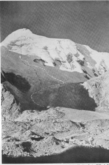 CHAUKHAMBA (BADRINATH PEAK), 23,420 FEET  Camp and Avalanche. Photograph, Swiss Climbing Party, 1939; A. Roch