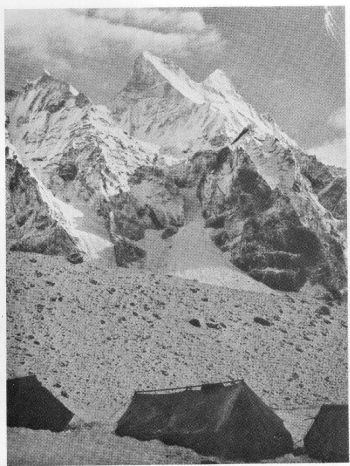 Camp I with the White Dome and double peak of Shivling