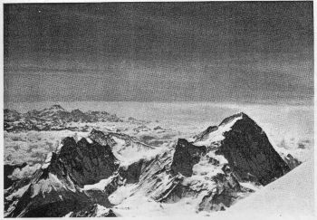 Panorama from summit of Everest: Makalu in right foreground, Kangchen Junga in left distance