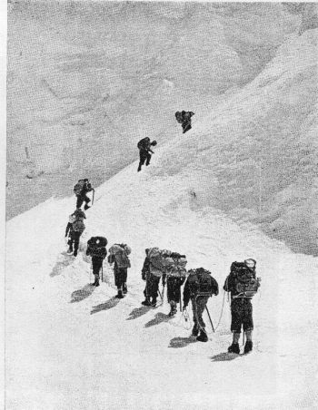 Wylie and Sherpas on the Lhotse Face