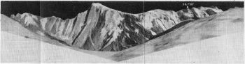 FIG. 3. NORTH FACE OF GHENISHCHISH, 23,056 FT., FROM PEAK 17,480 FT. ABOVE BARPU GLACIER. THIS VIEW IS A CONTINUATION TO THE LEFT OF FIG.2.