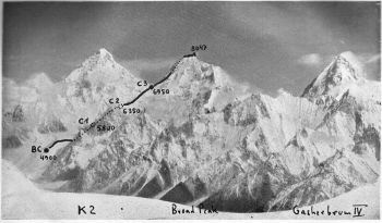 Broad peak, 26,414 ft., showing route and camps: view from S.E. ridge of Chogolisa. Left K2, 28,250 ft. right Gasherbrum IV,  26,000 ft.