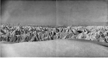 View North from the summit of broad peak, Looking towards Tibet: late evening on June 9, 1957.