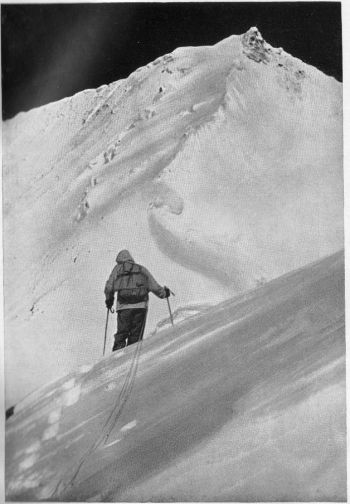 June 27, 1957 - Hermann Buhl ascending south east ridge of Chogolisa, view towards summit, accident occurred on cornice out of sight below right arm.