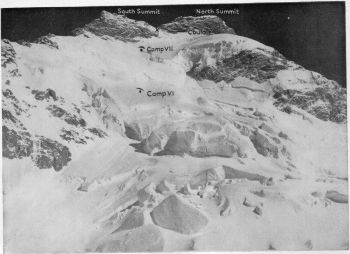 Upper part of South-East face. Camp VI, 24,000 ft. Camp VII, 24,800 ft. X- highest point reached, c. 25,300 ft. North summit, 25,660 ft. South summit, 25,610 ft.