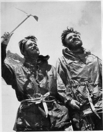 Back at base after the summit climb. Mike banks (left) and Tom Patey.