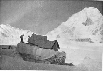 Camp I on the grachma glacier with K12 In the background