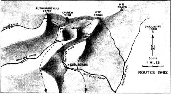 DHAULA HIMAL, DIAGRAMATIC SKETCH MAP TO SHOW DRAINAGE OF SOUTH WESTREN FLANK OF DHAULA HIMAL. COMPILED BY JAMES ROBERTS FROM OBSERVATIONS MADE, SEPTEMBER-NOVEMBER, 1962. REDRAWN BY RAM LAL SHRESTHA. POSITIONS OF NAMED PEAKS FROM SURVEY SHEET 62 P
