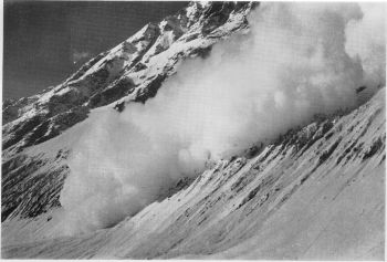 Avalanche falling from north wall of the bara shigri glacier. (Bob Pettigrew)