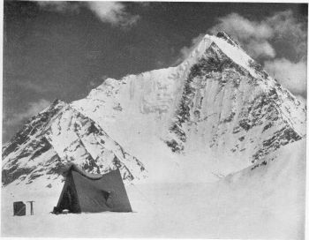 Kulu Pumori, 21,500 ft, from base camp at Concordia in the north-west route of ascent by right hand skyline ridge. (Bob Pettigrew)