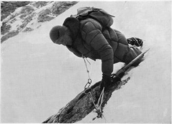 LOW AT THE ICE-FIELD (NOW NAMED THE ' SIEGI LOW ICE-COULOIR ' AFTER HIM) BETWEEN CAMPS I AND 2