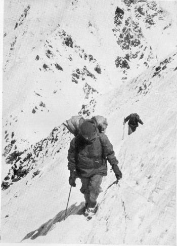 MANNHARDT AT THE FIRST TRAVERSE ON THE WAY TO CAMP 3