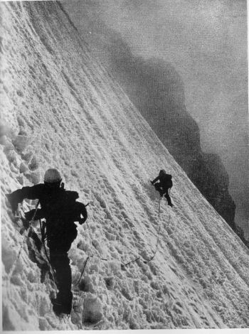 Per vigerust leading, with Ralph Hoibakk belaying, below camp V in the wall