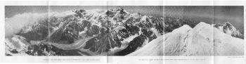 THE DARBAN (N.ATRAK) GLACIER IS SEEN FLOWING DOWN WESTWARDS BETWEEN P.6012 M. AND P. 6330 M. (PHOTO : STYRIAN HIM. EXP., 1964)