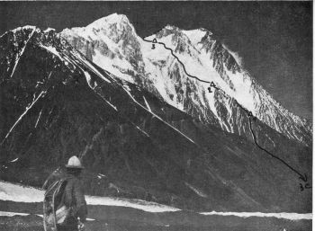 ISTOR-O-NAL (7,398 M.)  MAIN SUMMIT. YUGOSLAV ROUTE OF BC AND CAMPS 1,2,3  (Photo:  J.  Znidarsic)