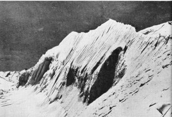 The SE ridge of Dhaulagiri from Camp II on the NE spur. (Photo: Del Young)