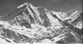 SW face of Churen Hima; Gurja Himal (extreme right).