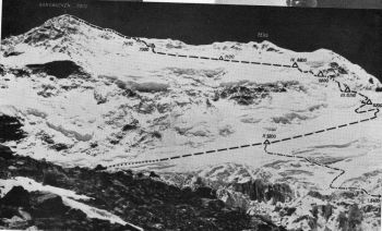 (Photo: Z. Rubinowski)  NW face of Kangbachen. Dot-Dash line indicates route via the icefall, used only during the early stages.